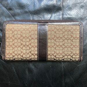 Coach Signature Zip Around Accordion Wallet